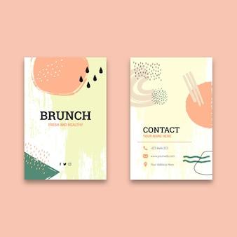 Dubbelzijdig verticaal visitekaartje van brunch