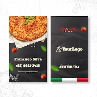Dubbelzijdig visitekaartje italiaans eten