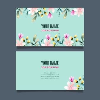 Dubbelzijdig visitekaartje met bloemen