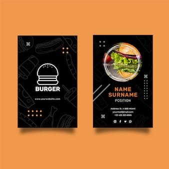 Dubbelzijdig visitekaartje van burgers restaurant