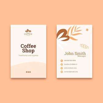 Dubbelzijdig visitekaartje van de koffiewinkel