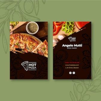 Dubbelzijdig visitekaartje van pizzarestaurant