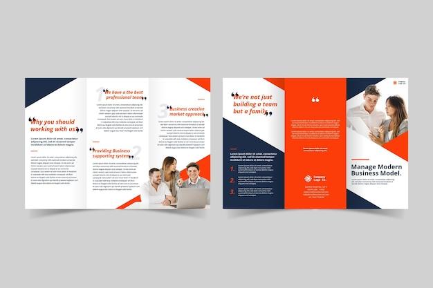 Dubbelzijdige driebladige brochure afdruksjabloon