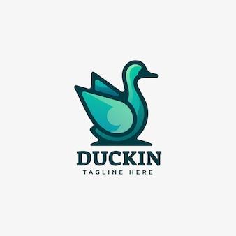 Duck gradient line art style logo sjabloon