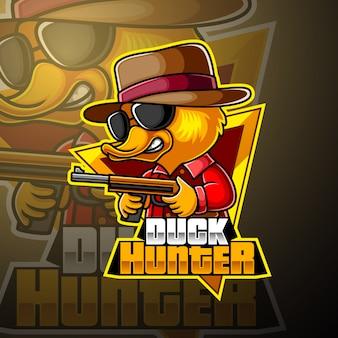 Duck hunter esport mascotte logo ontwerp
