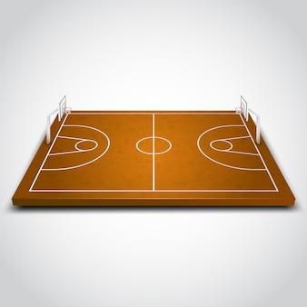 Duidelijk 3d basketbalveld op witte achtergrond