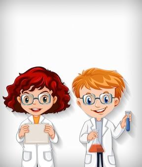 Duidelijke achtergrond met jongen en meisje in wetenschapstoga