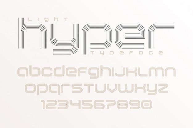 Duidelijke lettertypekunst, alfabet, letters en cijfers.
