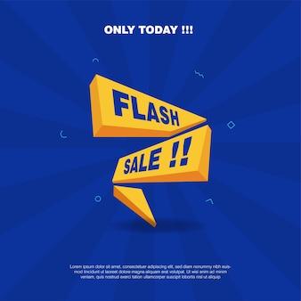 Duidelijke minimalistische flash-verkoopbannersjabloon met flitsvorm in 3d-stijl