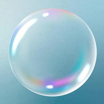 Duidelijke zeepbel ontwerpelement vector op blauwe achtergrond