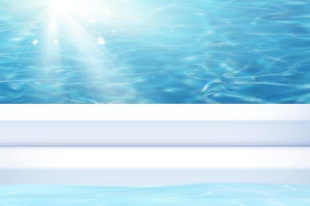 Duidelijke zomer zwembad achtergrond in 3d illustratie