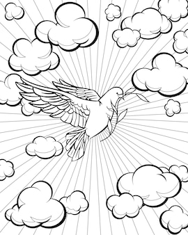 Duif in de lucht kleurplaat. bijbel verhaal. vector illustratie.