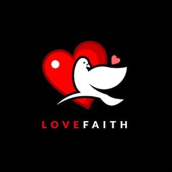 Duif logo dove bird geloof en liefde vector