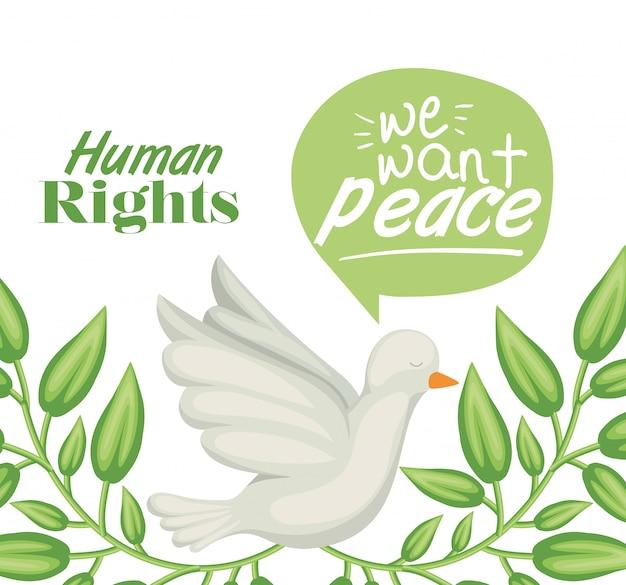 Duif van mensenrechtenillustratie