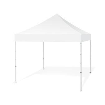 Duik tent van de luifel de openluchtmarkttent op witte achtergrond wordt geïsoleerd op die. apparatuur voor beurzen. illustratie