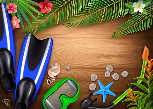 Duikaccessoires realistisch met snorkelmasker flippers tropische planten zeedieren op houten plank