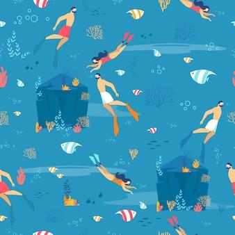 Duiken en onderwater exploratie naadloos patroon