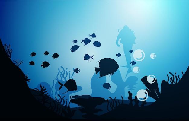 Duiker duiken wildlife vissen zeedieren onderwater aquatische illustratie