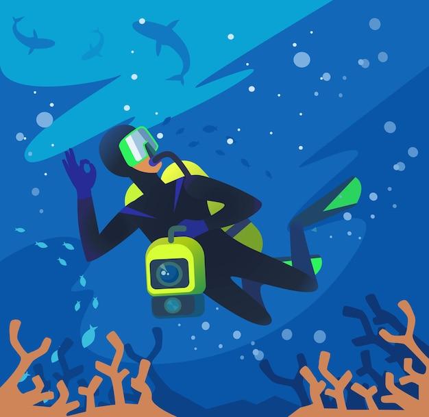 Duiker onder water.