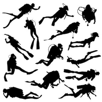 Duiker sport zee silhouet illustraties