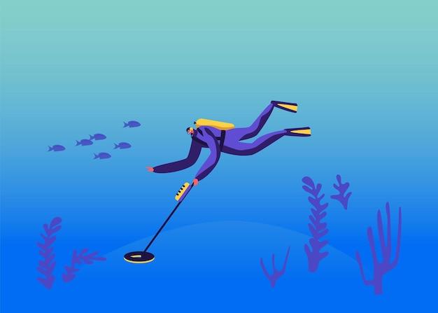 Duikerkarakter in duikkostuum onderzoek oceaanbodem met metaaldetector