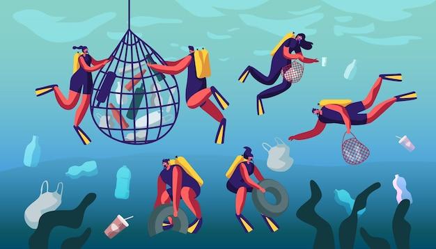 Duikers verzamelen afval in mand onderwater. cartoon vlakke afbeelding