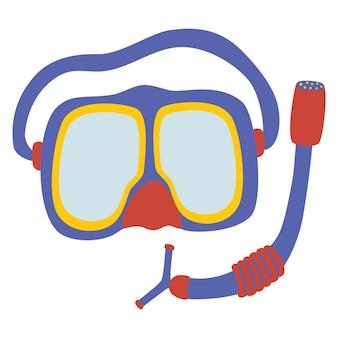 Duikmasker en snorkel icoon. kostuumelement voor onderdompeling in water. onderwatersport, entertainmentapparatuur, uitrusting. cartoon vectorillustratie
