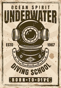 Duikschool reclame vintage poster met duiker helm vectorillustratie