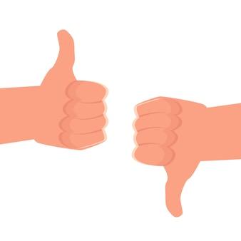 Duim omhoog, duim omlaag zoals een pictogram van een sociaal netwerk. vector illustratie.