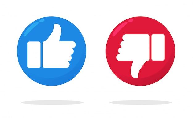 Duim omhoog en duim omlaag pictogram dat het gevoel van leuk of niet leuk op facebook laat zien