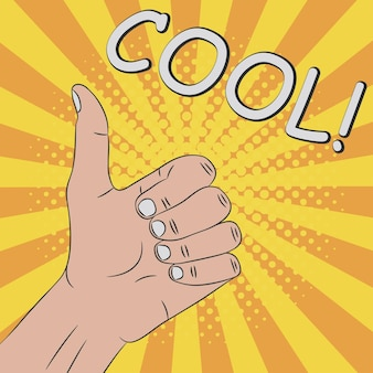 Duim omhoog handgebaar cool komische illustratie in pop-art retro-stijl bij zonnestraalachtergrond