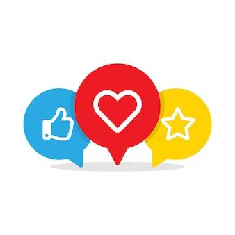 Duim omhoog hart en ster sociale media iconen. like en voeg toe aan favorieten in geïsoleerde tekstballonnen in vlakke stijl. vectorillustratie eps 10