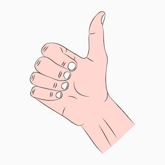 Duim omhoog teken. zoals, cool, goed, aardig, bravo - handgebaar met vinger omhoog. vector illustratie.