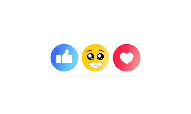 Duimen omhoog en hartlabel met cartoonglimlach. set van sociale pictogrammen. vector op geïsoleerde witte achtergrond. eps-10.
