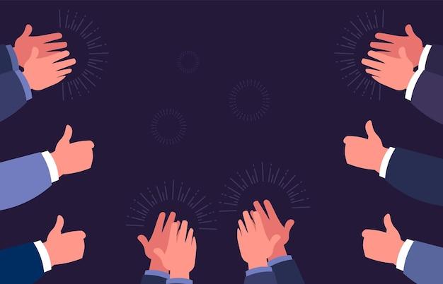 Duimen omhoog en in de handen klappen. hand klappende gebaren. zakelijk succes, feest en gefeliciteerd