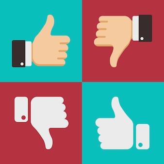 Duimen omhoog zoals hekel aan iconen voor sociale netwerk webapp. symbool hand met duim omhoog. vector illu