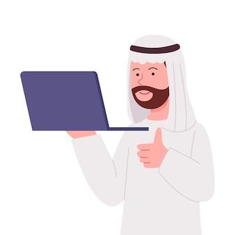 Duimschroef opwaarts arabische man houdt een laptop platte cartoon