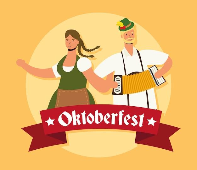 Duits paar dat tiroler kostuum draagt dat bieren drinkt en ontwerp van de accordeon het vectorillustratie speelt