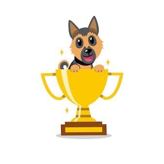 Duitse de herdershond van het beeldverhaal vectorkarakter met de gouden toekenning van de trofeekop