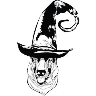 Duitse herdershond in heksenhoed voor halloween