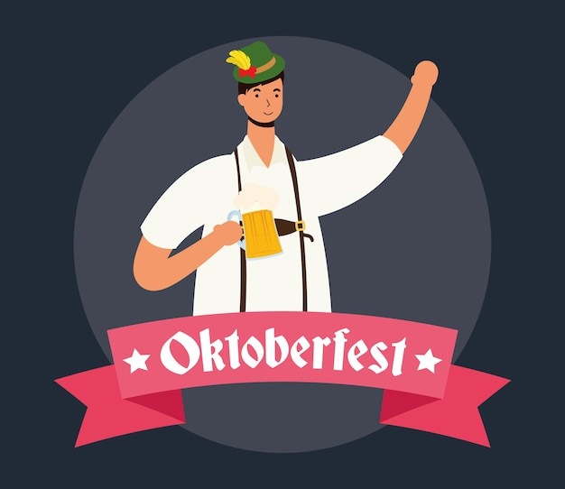 Duitse man met tiroler pak drinken bier characterdesign vector illustratie