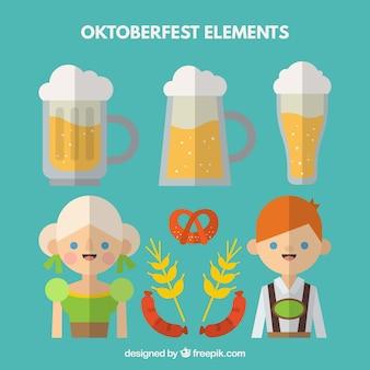Duitse mensen met een traditionele oktoberfest kleding en bier