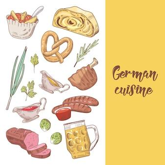 Duitse traditionele gerechten hand getrokken doodle