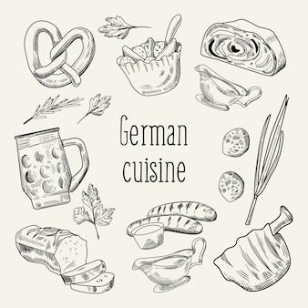 Duitse traditionele gerechten hand getrokken schets doodle
