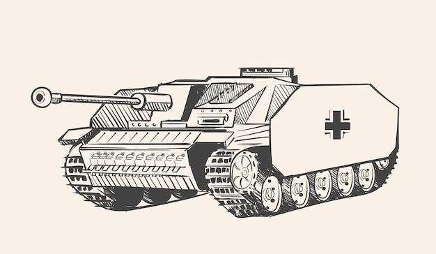 Duitse zelfrijdende artillerie-installatie stug iii sketch
