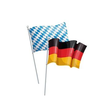 Duitsland en beieren vlaggen. bier festival. oktoberfest. oktoberfest gorzen van vlaggen. geïsoleerde vectorillustratie in cartoon-stijl.