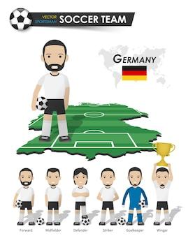 Duitsland nationale voetbal cup team. voetballer met sporttrui staat op de landkaart van het perspectiefveld en de wereldkaart. set van voetballer posities. cartoon karakter plat ontwerp. vector.