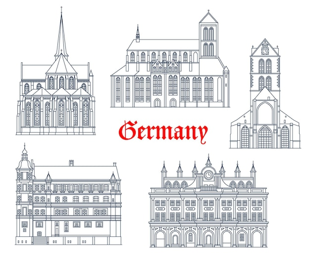 Duitsland oriëntatiepunten gebouwen pictogrammen