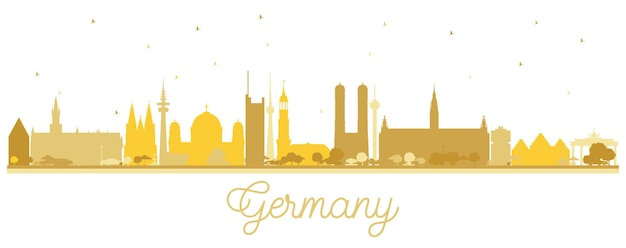 Duitsland stad skyline silhouet met gouden gebouwen. illustratie