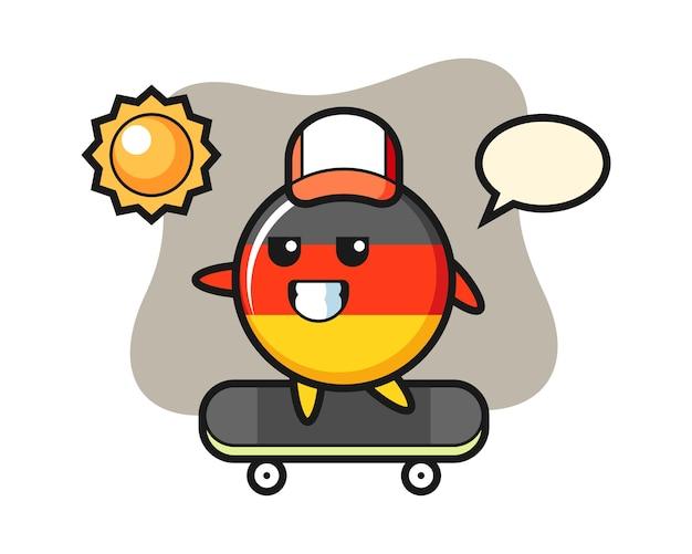 Duitsland vlag badge karakter berijdt een skateboard